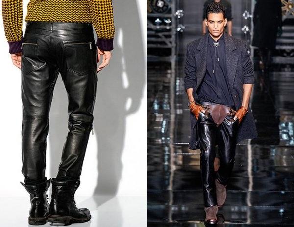 Чоловічі брюки з шкіряного матеріалу