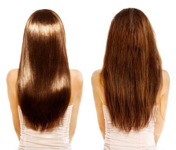 Волосся до і після використання кокосового масла