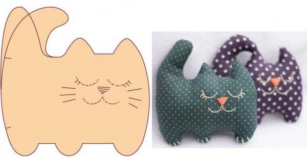 декоративна подушка у вигляді кота з викрійкою