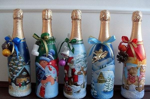 декупаж шампанського на новий рік