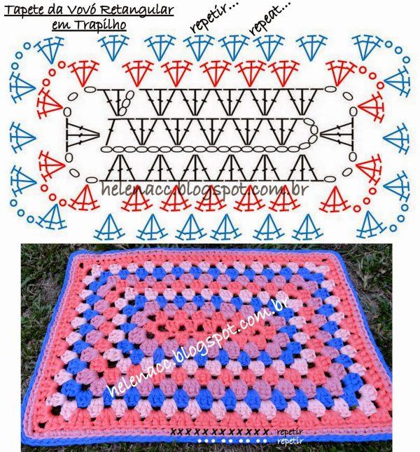 як зв'язати килимок гачком схеми