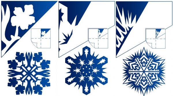 схеми вирізання сніжинок з паперу