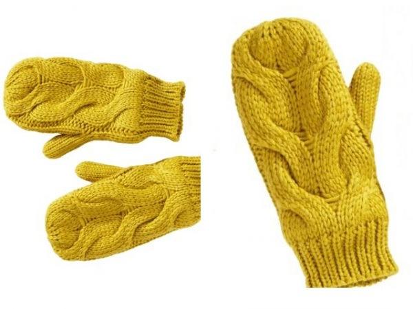 рукавиці в язані спицями
