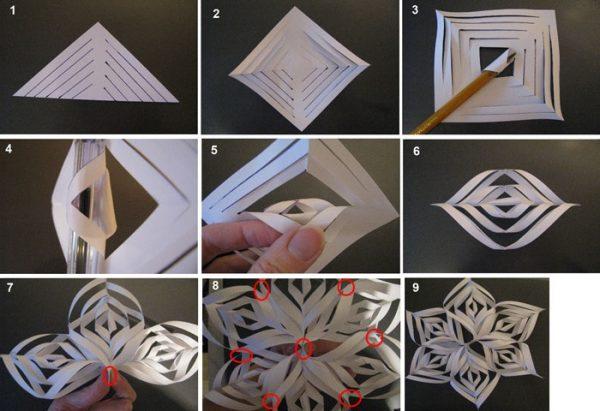 як зробити сніжинку з паперу