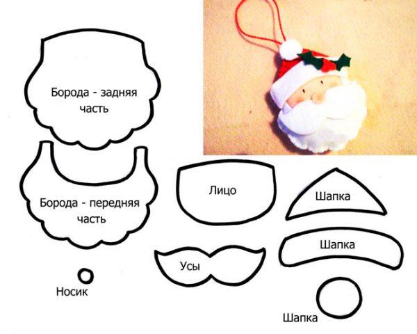 схеми новорічних іграшок з фетру