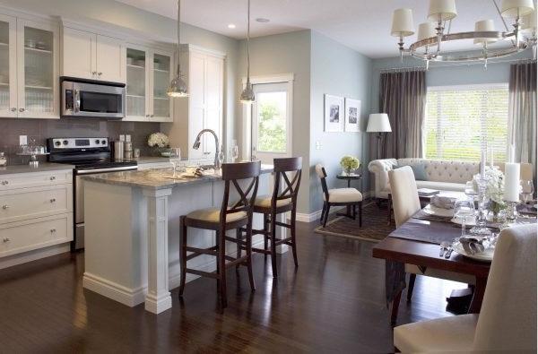 дизайн вітальні що об єднана з кухнею