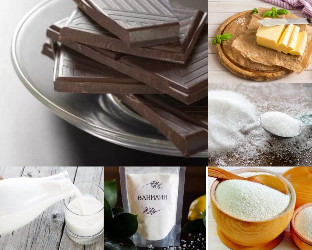 Інгредієнти для шоколадного пудингу