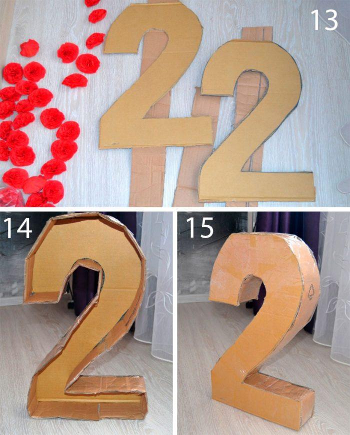 об'ємна цифра 2 покроково