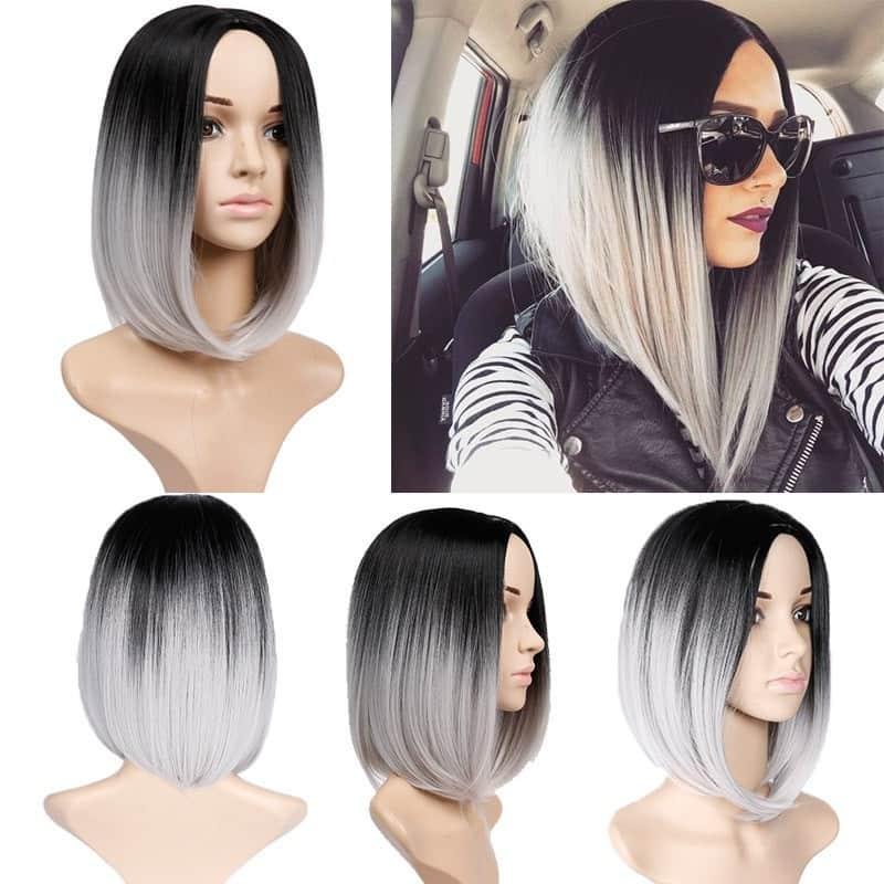 сіро біле фарбування короткого волосся