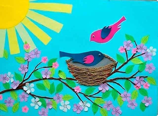 аплікація весняна з птахами