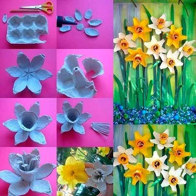 квіти з лотка з під яєць
