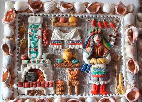 картина на кухню з солоного тіста