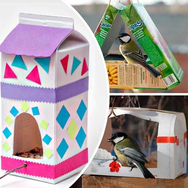 годівниця для птахів з коробки