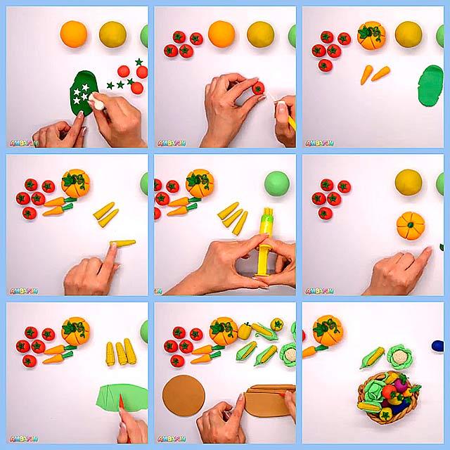 овочі з пластиліну