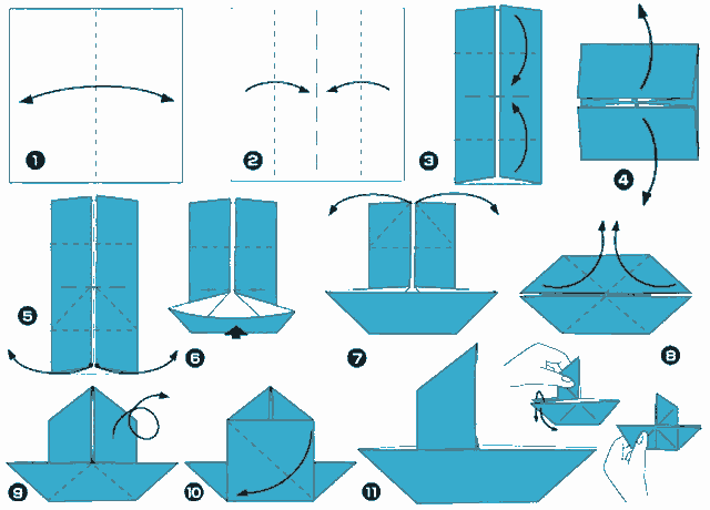 схема складання вітрильника з паперу
