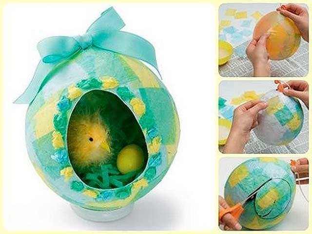 виріб на Великдень у вигляді пташеня в яйці