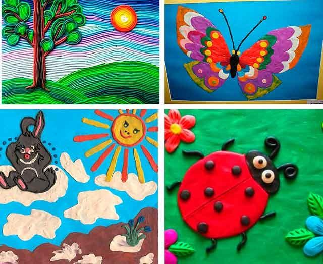 малюнки пластиліном на тему весна