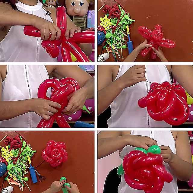 як зробити троянду з повітряних кульок