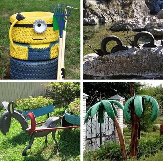 вироби з шин для дитячих майданчиків
