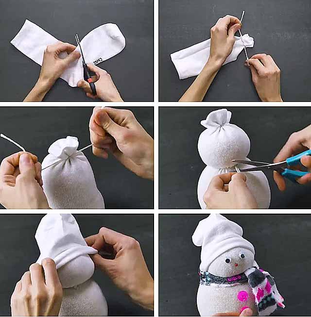 сніговик з шкарпеток фото
