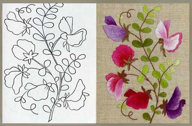трафарет для вишивки квітів