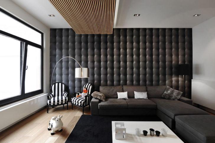 інтер'єр вітальні в чорних тонах