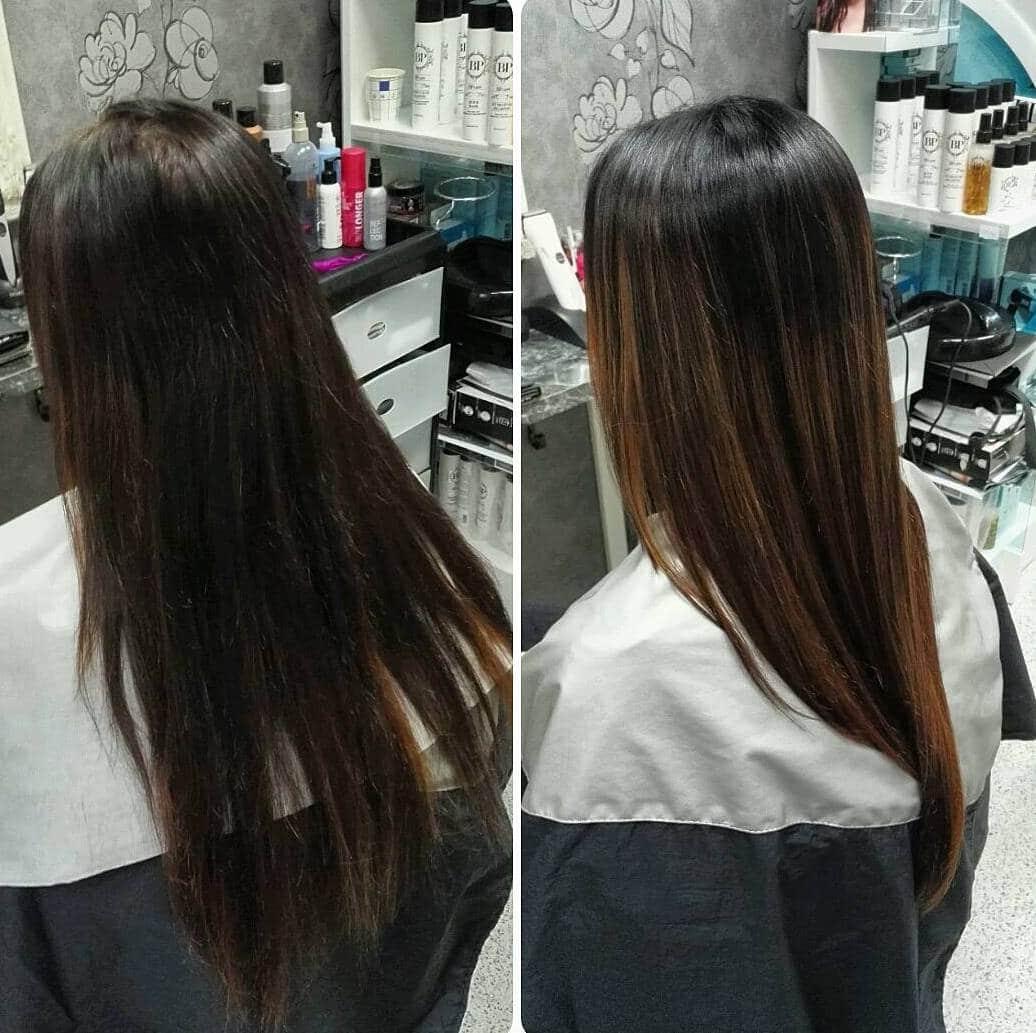 балаяж на темне коротке волосся