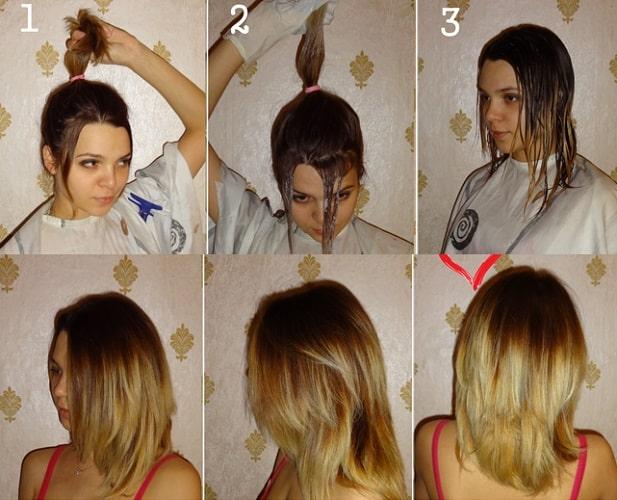 балаяж на темне середнє волосся